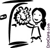 Vector Clip Art picture  of a girl placing a wreath on her