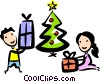 brother and sister opening their Christmas gifts Vector Clip Art graphic