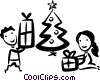 Vector Clipart image  of a opening their Christmas gifts