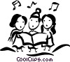 Vector Clipart graphic  of a Christmas carolers