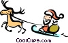 Santa flying through the sky with a reindeer Vector Clipart illustration