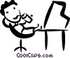 Vector Clip Art picture  of a Relaxing at Desk
