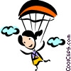 woman skydiving Vector Clip Art picture