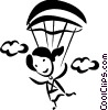 Vector Clip Art graphic  of a Skydiving