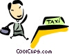 Businessman hailing a cab Vector Clipart picture