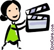 woman with a clapper board Vector Clipart image