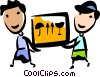 Men delivering a shipment Vector Clipart picture