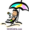 Vector Clip Art graphic  of a Relaxing at the Beach