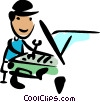 Auto Mechanic fixing a car Vector Clip Art picture