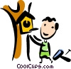 Vector Clip Art graphic  of a Bird Houses and Cages