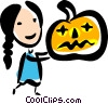 Girl with a jack-o-lantern Vector Clip Art picture