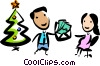 Vector Clipart graphic  of a man handing a woman a