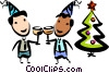 Vector Clip Art image  of a men toasting one another at Christmas