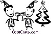 men toasting one another at Christmas party Vector Clip Art picture