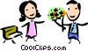 Man bringing flowers to his wife Vector Clip Art picture