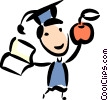 Student celebrating his graduation Vector Clipart graphic