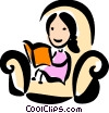 Woman reading a book Vector Clipart graphic