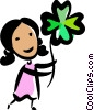 Woman with a lucky shamrock Vector Clipart picture