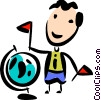 Businessman with a globe Vector Clipart illustration