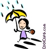 woman running in the rain Vector Clip Art picture