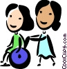 Nurse pushing woman in a wheelchair Vector Clip Art picture