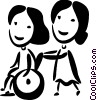 Vector Clip Art graphic  of a People with Disabilities