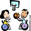 People playing wheelchair basketball Vector Clipart illustration