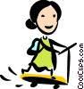 Girl on her scooter Vector Clip Art picture