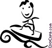 Vector Clipart image  of a Surfing