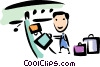 Luggage handler loading suitcases Vector Clipart image
