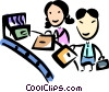 Passengers loading luggage onto conveyor belt Vector Clipart graphic
