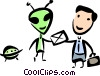 Alien delivering mail to businessman Vector Clipart image