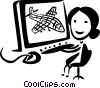 Vector Clipart graphic  of an Air Traffic Control