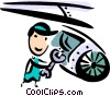 Mechanic fixing jet engine Vector Clipart picture