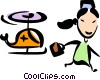 Nurse leaving a helicopter Vector Clip Art picture