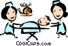 Nurses transporting patient Vector Clipart graphic