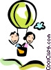 Couple in a Hot Air Balloon Vector Clip Art picture