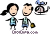 Couple leaving a helicopter Vector Clipart image