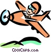 Person flying a Propeller Plane Vector Clipart graphic