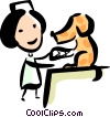 Veterinarian working on a dog Vector Clipart graphic