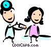 Doctor with Patient Vector Clip Art graphic