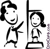 Vector Clipart graphic  of a Nurses with Patients