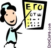 Nurse with and eye chart Vector Clip Art picture