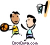 Vector Clip Art picture  of a Basketball Players