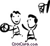 Vector Clipart graphic  of a Basketball Players