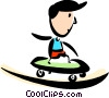 Boy Skateboarding Vector Clipart graphic