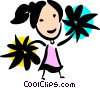 Vector Clip Art graphic  of a Cheerleaders
