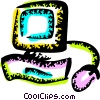 Vector Clip Art graphic  of a Computer Desktop Systems