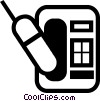 Vector Clip Art graphic  of a Cellular Wireless and Cordless