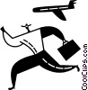 Vector Clipart graphic  of a man running for a plane